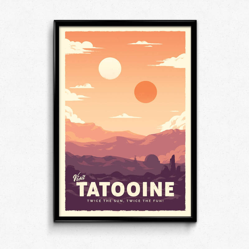 Tatooine - Star Wars Retro Travel Poster