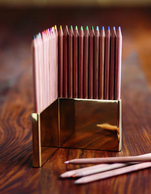 Colored Pencils & Brass Holder Set