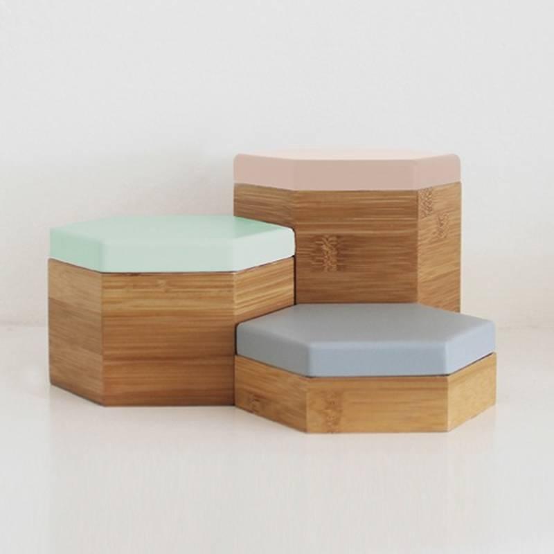 Hex Boxes Pastel Set: Mint, Grey, Peach