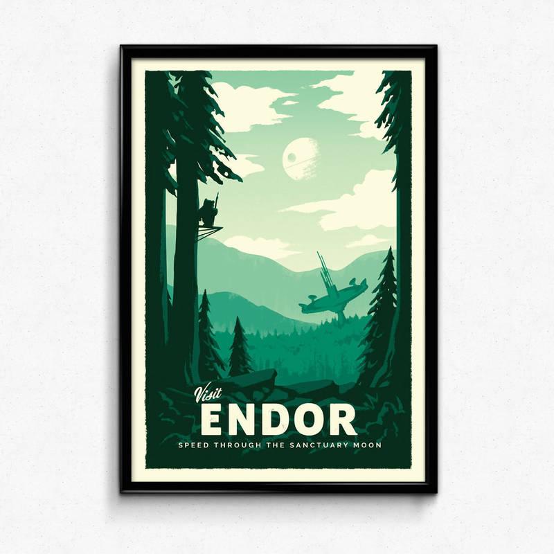 Star Wars Retro Travel Poster - Endor