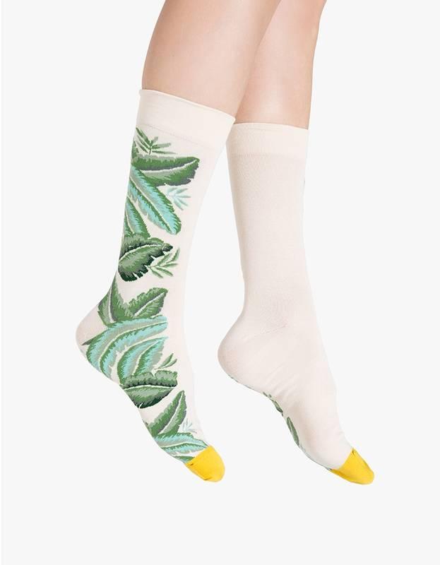 Leaf socks in Natural
