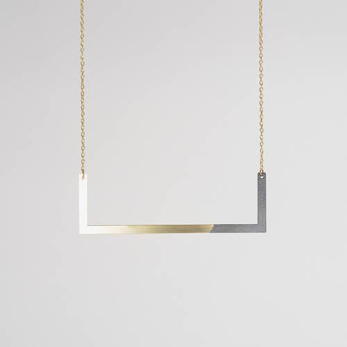 Form Square Necklace Brass & Black