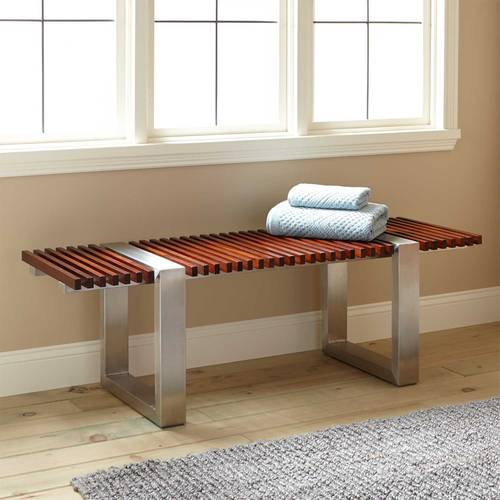Mahogany and Stainless Steel Bench