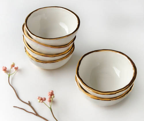 22k Gold Rimmed White Bowl