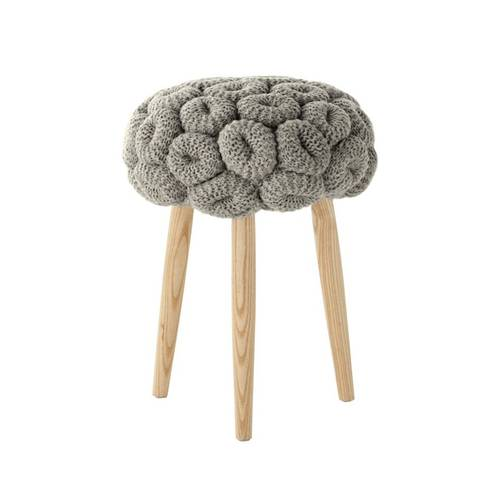 KNITTED grey stool
