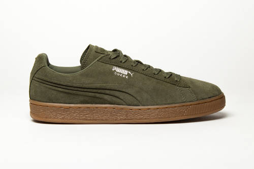 Suede Emboss Burnt Olive Shoes