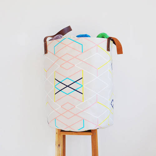 Round Geometric Laundry Hamper