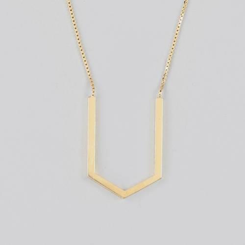 Hexagon Contour Necklace - Gold