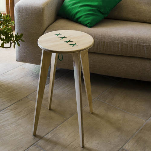 STITCHED Wooden Side Table