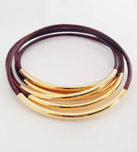 Brown Leather Bangles