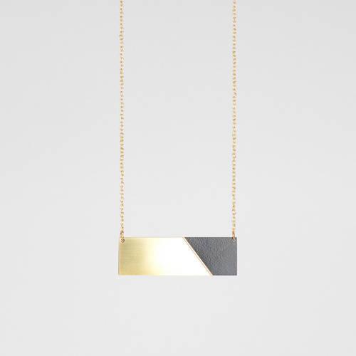 Form Bar Necklace Brass & Black