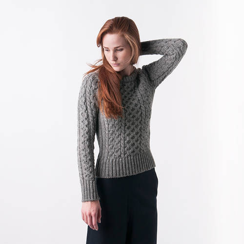 Lucy Fisherman Sweater in grey