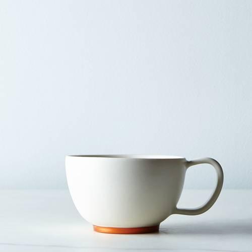 White and Copper Ceramic Cocoa Mug