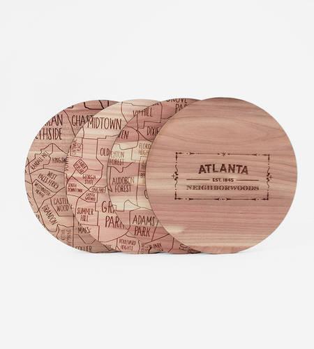 Wood City Map Coasters
