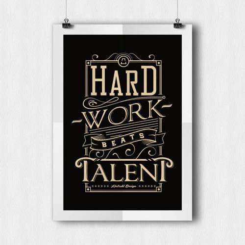 Hard Work Beats Talent Inspirational Wall Print