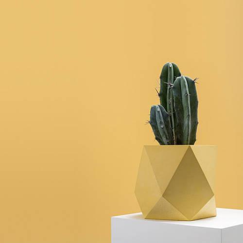 Geometric vase in mustard