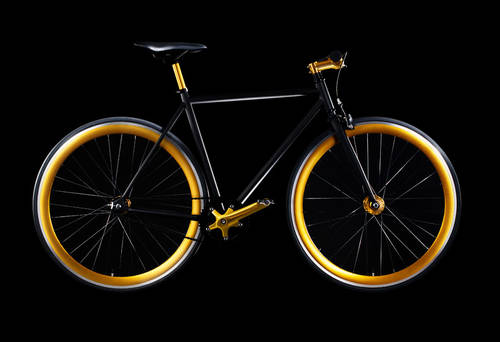 Goldencycle fixed gear bike with anodized gold parts