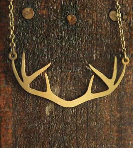 Deer Antler Brass Necklace