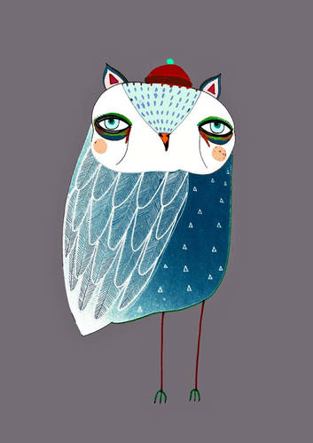Blue Night Owl. Illustration Art Print