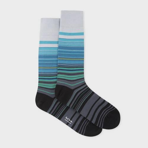 Men's Grey 'Higgle Stripe' Socks