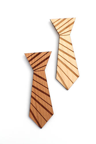 Striped Wooden Mens Tie