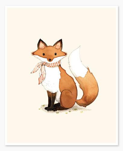 Fox alphabet animals art