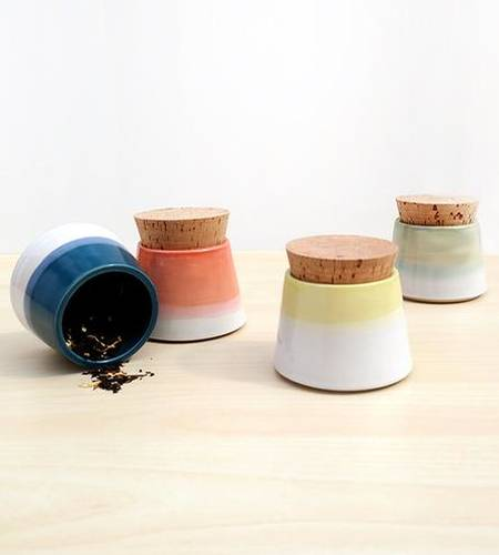 Small Ceramic Spice Jars, Set of 4