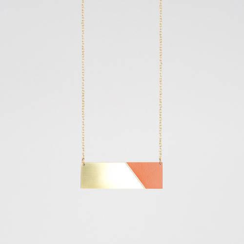 Form Bar Necklace Brass & Tan