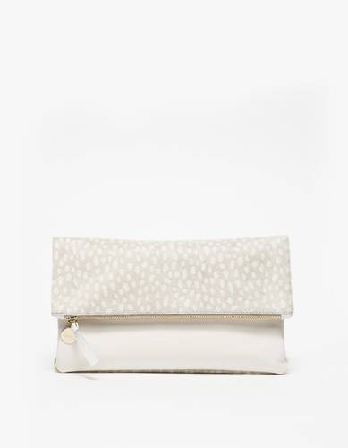 Foldover Clutch Grey/White
