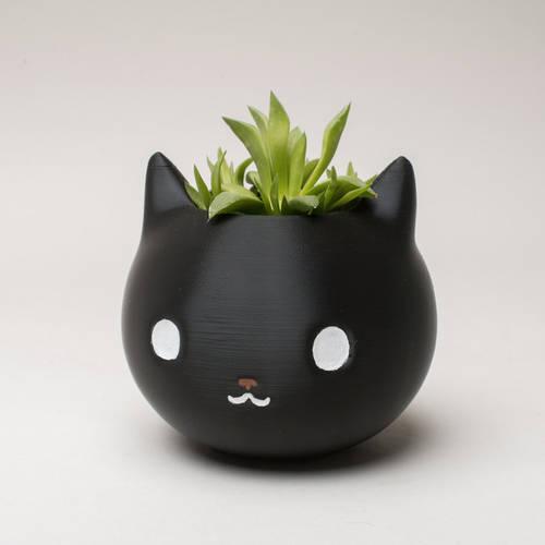 3D printed cute cat planter