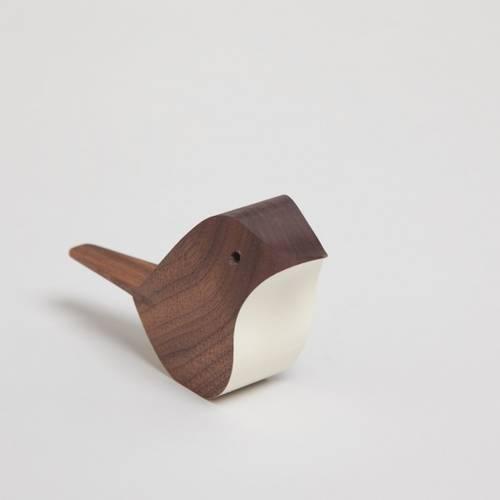 Jacob Pugh Walnut Wood Bird- White