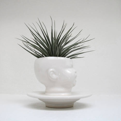 Modern White Baby Head Planter