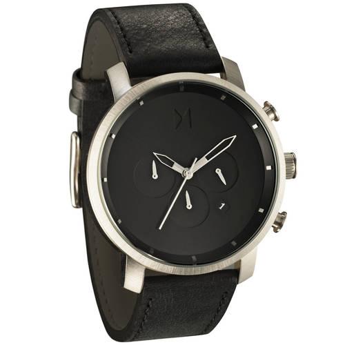 MVMT Silver/Black Leather Watch
