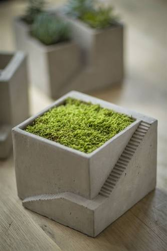 Cement Architectural Plant Cube Planter I