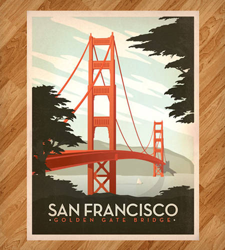 Golden Gate Bridge Retro Print
