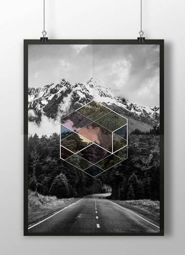 Hexagon Black and White Printable Poster