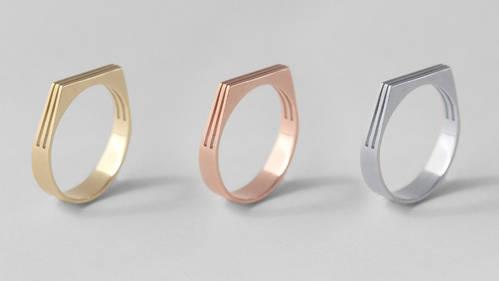 Gold, Bronze & Silver Geometric ring