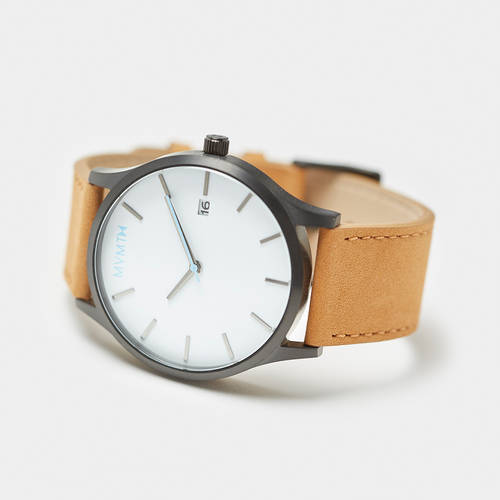 MVMT White/Black with Tan Leather Watch