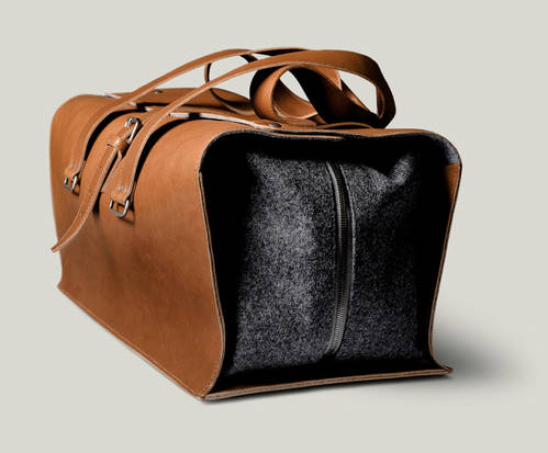 1st Edition Leather and Wool Travel Bag