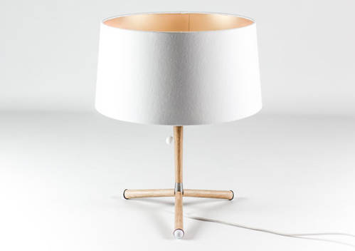 New table lamp in oak wood