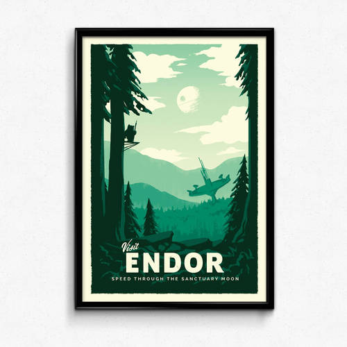Star Wars Retro Travel Poster - Endor
