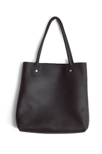 Leather Slouch Tote Black