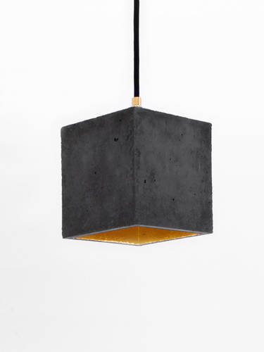 Black & gold concrete hanging lamp