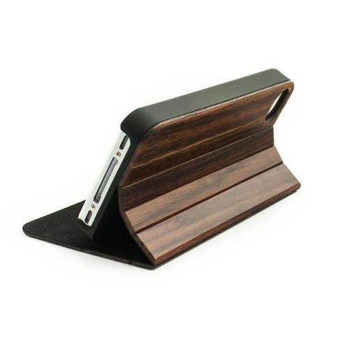 Wood design flip iPhone case