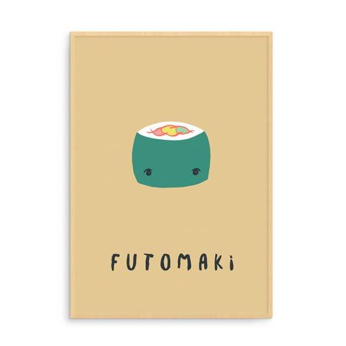 Yellow Futomaki Sushi Illustration Art Print
